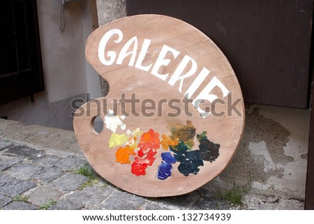 Artist palette advertising a gallery - stock photo