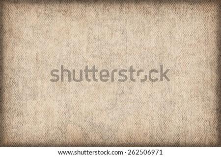 Artist Primed Cotton Duck Canvas, coarse grain, bleached, mottled, stained, vignette grunge texture. - stock photo
