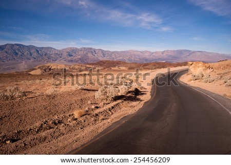 Artist's Drive Side Road Perfect Day Death Valley National Park - stock photo