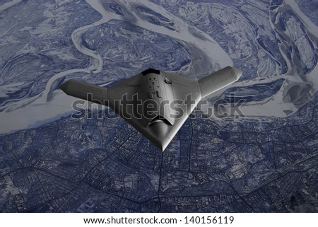 Artist's impression of a drone as it flies over over a frozen city in Far East Asia such as Russia or North Korea. - stock photo