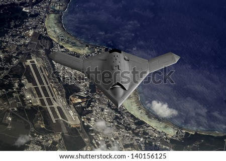 Artist's impression of a drone as it flies over the pacific Island of Guam. - stock photo