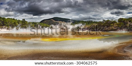 Artist's Palette Pool in Waiotapu Thermal Reserve, Rotorua, New Zealand - stock photo