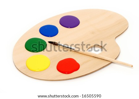 Artist's palette with multiple colors - stock photo