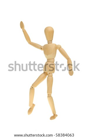Artist's wooden mannequin with one arm raised