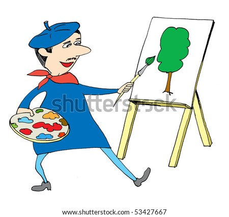 Artist with brush and palette painting tree - stock photo
