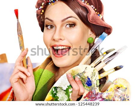 Artist woman at work. Isolated. - stock photo