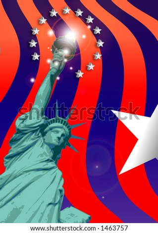 Artistic & abstract painting No 8: Stars around Liberty. More with keyword Group4. - stock photo
