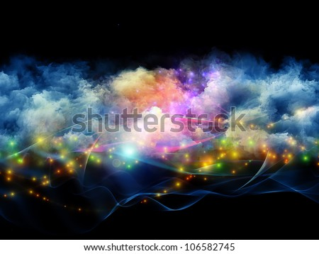 Artistic abstraction on the subject of art, spirituality, painting, music , visual effects and creative technologies  composed of clouds of fractal foam and abstract lights - stock photo