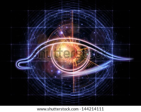 Artistic abstraction on the subject of modern technologies, mechanical progress, artificial intelligence, virtual reality and digital imaging composed of eye outlines, fractal and abstract elements - stock photo