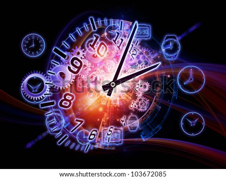 Artistic abstraction on the subject of scheduling, temporal and time related processes, deadlines, progress, past, present and future composed of gears, clock elements and abstract design elements - stock photo