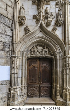 Artistic and sculptural details on the entrance doors to the chapel of the sanctuary of Rocamadour & Artistic Sculptural Details On Entrance Doors Stock Photo ...