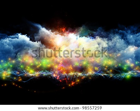Artistic background for use with projects on art, spirituality, painting, music , visual effects and creative technologies , made of clouds of fractal foam and abstract lights - stock photo