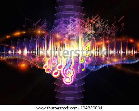 Artistic background for use with projects on music, sound equipment and processing, audio performance and entertainment made of musical notes, fractal grids, lights, wave and sine patterns - stock photo