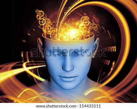 Artistic background made of human head and symbolic elements for use with projects on human mind, consciousness, imagination, science and creativity