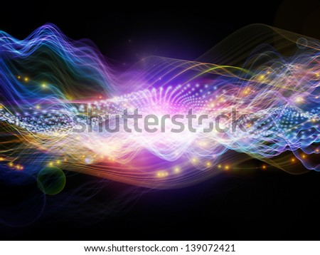 Artistic background made of lights, fractal and custom design elements for use with projects on signals, networking, communication technologies and motion