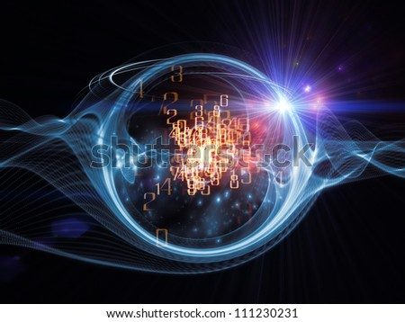 Artistic background made of technological design elements and circular turbulence for use with projects on signal processing, communications and modern technology - stock photo