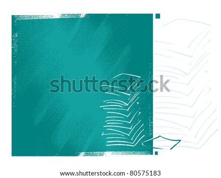 artistic background with documents motive (simplified freehand drawing) - raster version - stock photo