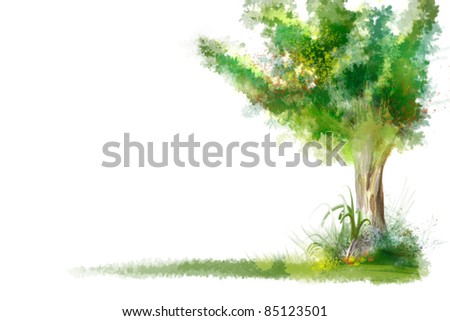 artistic background with nature tree and grass painted. Left free space for your content.