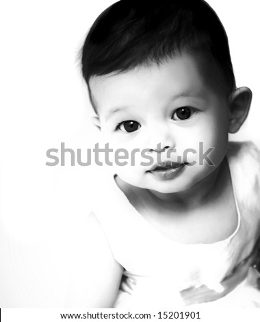 Artistic black and white image of a beautiful baby - stock photo