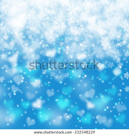 Artistic blue abstract snowflake illustration with heart shape background. - stock photo