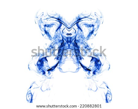 Artistic blue smoke on white background