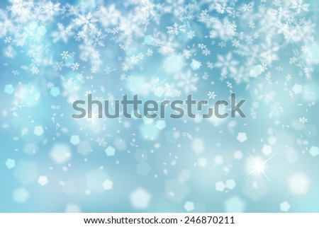 Artistic blue snowflake fall with sparkle illustration background. - stock photo