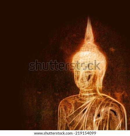 Artistic buddha drawing - stock photo
