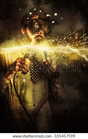 Artistic business portrait of a funny man holding energy jumper plugs when creating a start up business with powerful leads in innovation. Upstart idea - stock photo
