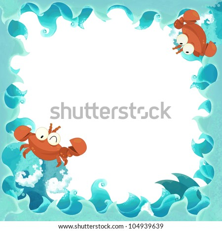 artistic cartoon frame waves with crabs crayfish 1