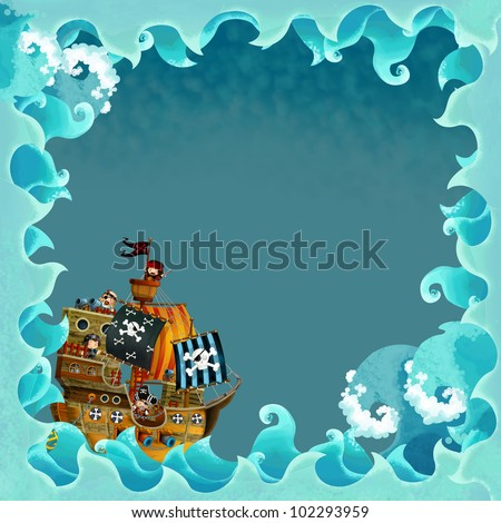 artistic cartoon frame waves with pirate ship 1
