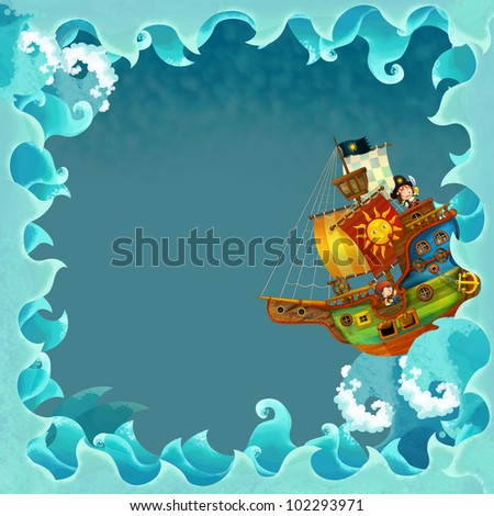 artistic cartoon frame waves with pirate ship 2