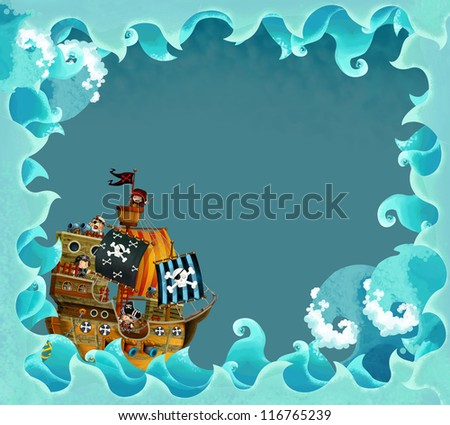 artistic cartoon frame waves with pirate ship - illustration for the children
