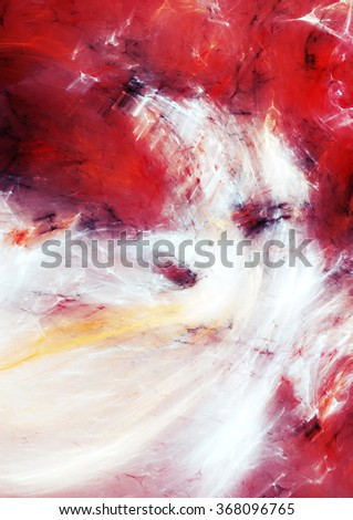 Artistic clouds. Abstract painting color texture. Red and white pattern with watercolor effect. Modern futuristic dynamic background. Fractal artwork for creative graphic design - stock photo