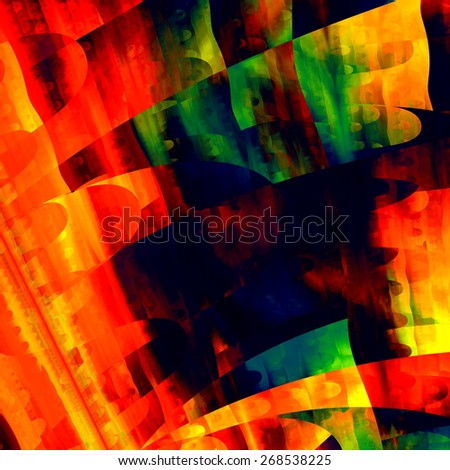Artistic Colorful Art. Creative Brushstrokes Texture. Modern Abstract Background. Red Green Yellow Orange Blue Color. Digital Illustration Design. Fractal Grunge Image. Psychedelic Shapes Graphic. - stock photo