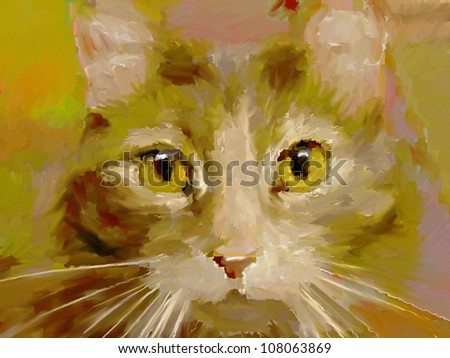 artistic digital painting of a cat's face in an impressionist oil paint style - stock photo