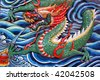 artistic dragon made from mosaic - stock photo