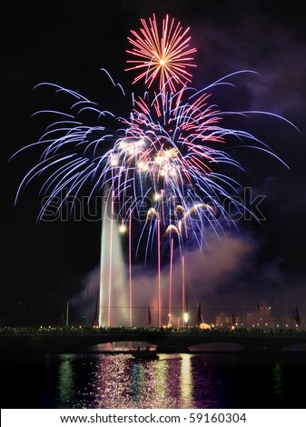 Artistic Fireworks - stock photo
