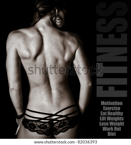 Artistic Fitness Muscles of a Woman's Back - stock photo