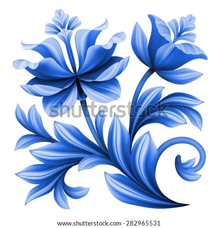 artistic floral element, abstract folk art, blue flowers illustration isolated on white background - stock photo