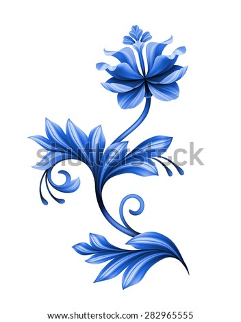artistic floral element, abstract gzhel folk art, blue flower illustration isolated on white background