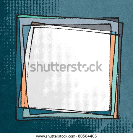 Artistic freehand frame (chalk technique, textured grunge background) (raster version) - stock photo