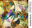 artistic grunge background with butterflies - stock photo