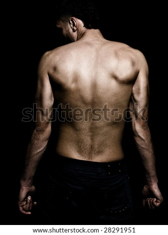 Artistic grunge image of man with muscular lean back - stock photo