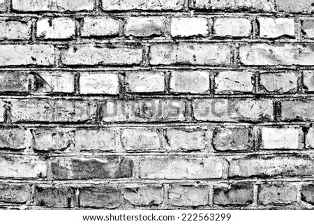 Artistic grunge old brick wall texture. Black and white. - stock photo