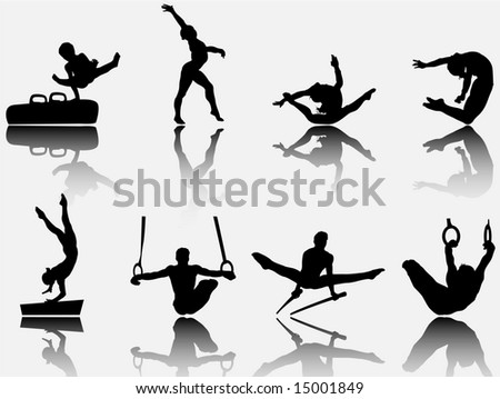 artistic gymnastic set 1 - stock photo