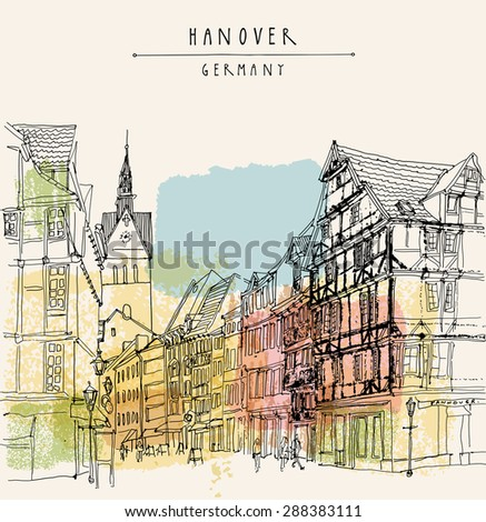 Artistic illustration of old center in Hanover, Germany, Europe. Historical building sketchy line art. Freehand drawing. Walking street, old houses, church, people. Postcard template with copy space - stock photo