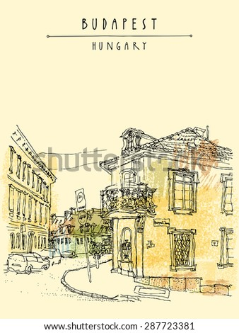 Artistic illustration of street corner in Budapest city, Hungary. Hand drawing travel sketch with hand lettering in retro colors. Vertical postcard greeting card design template - stock photo