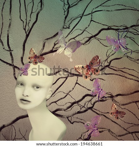 Artistic illustrative image represent a female creature with many branches and butterflies - stock photo