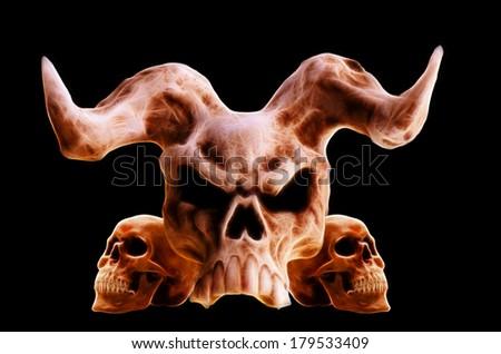 Artistic image. Demon and human skulls, isolated on black background.  - stock photo
