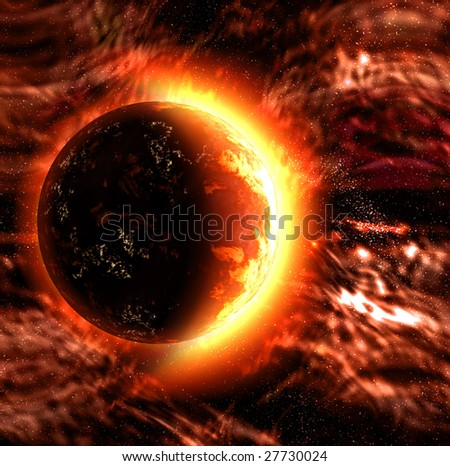 artistic image of a sun or burning planet